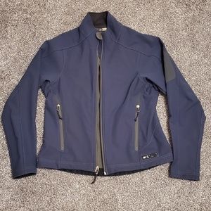 REI navy blue soft shell jacket